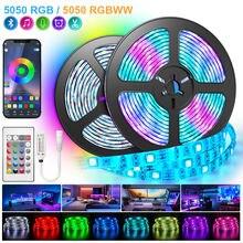 Tiras de luces Led con Bluetooth 5050, cinta de luces Led RGB, color blanco cálido, RGBWW, Flexible, 5M-30M, cinta de diodos para teléfono, Wifi, juego de Control Alexa