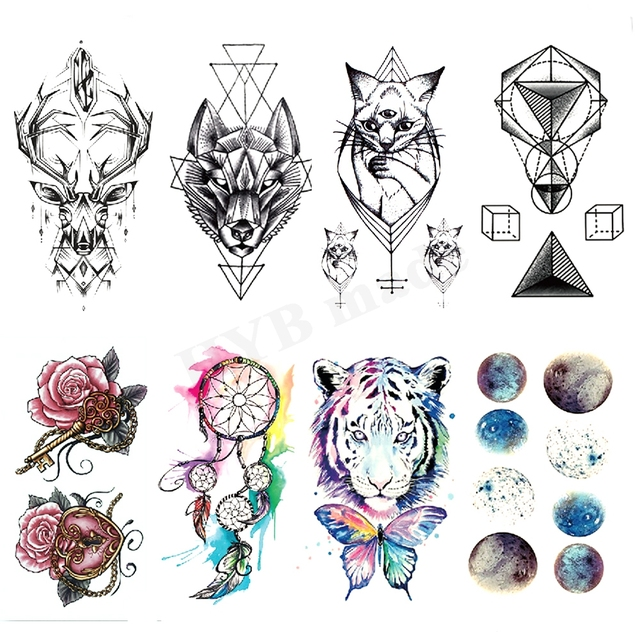 Geometry cool Temporary Tattoo Sticker Women Minimalist lines pattern Body Art New Design Fake Men Tattoos