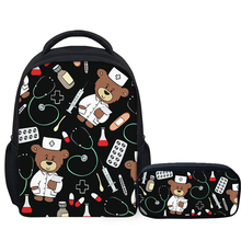 NOISYDESIGNS Children's School Bags Cute Nurse Bear Printing Kids Backpacks Infant Kindergarten Students Book Satchel Schoolbag cute kids satchel with star print and bear shape design