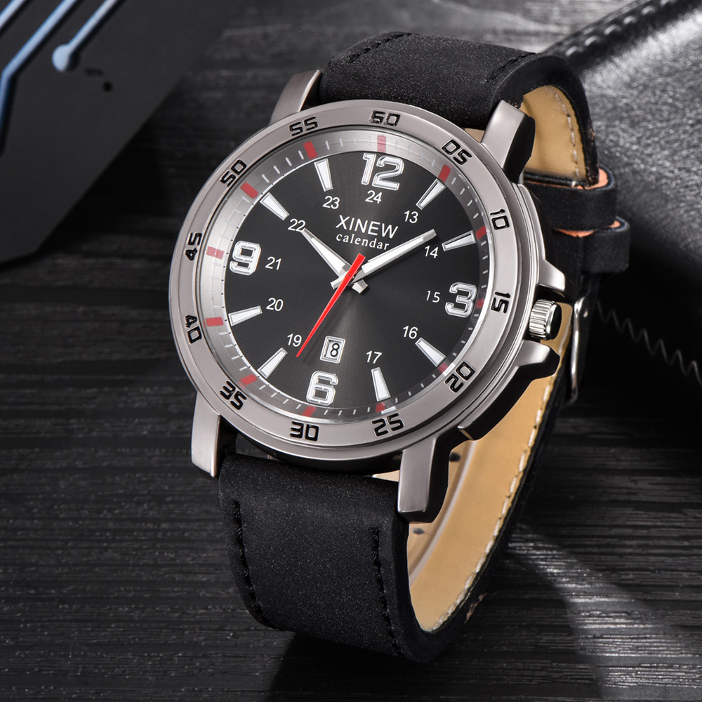 XINEW Men Watch Hot Sell Fashion Men Sports Date Analog Quartz Watches Leather Stainless Steel Wrist Watch relogio masculino