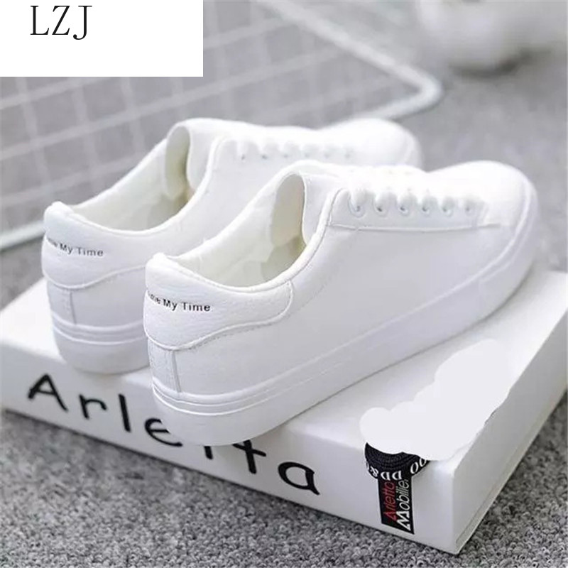 Women Sneakers 2020 Caual Shoes Fashion White Sneaker Round Toe Lace-Up Platform Zapatillas Mujer Reflective Strip  Designer