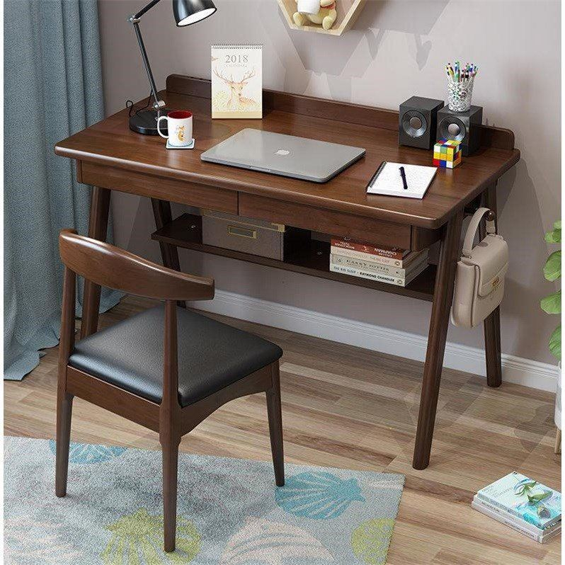 All Wood Table Scandinavian Minimalist Computer Table Rubber Wood Desk Office Table Household Library Learning Writing Desk