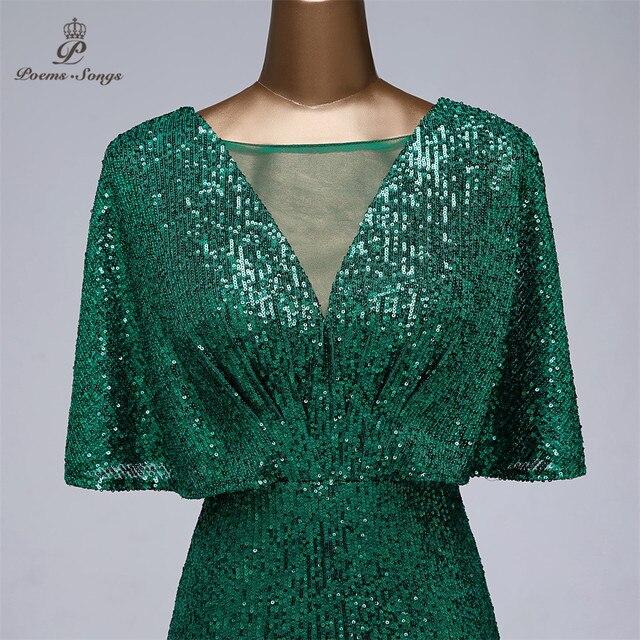 Sexy sequin Evening dress short sleeves vestidos de fiesta green dress evening gowns for women Party dress prom dresses 4