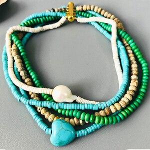 Натуральный камень короткое ожерелье синий камень в форме сердца барокко жемчужина ручной работы женские ювелирные изделия 2020 лето новый б...
