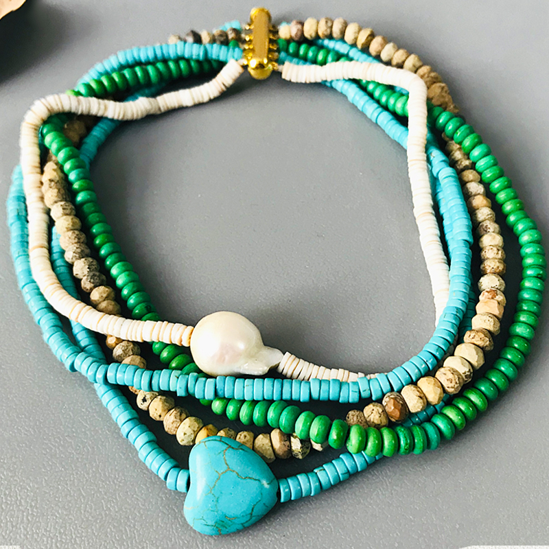Natural Stone Short Necklace Blue Heart Shaped Stone Baroque Pearl Handmade Women's Jewellery 2020 Summer New Bohemian Collier
