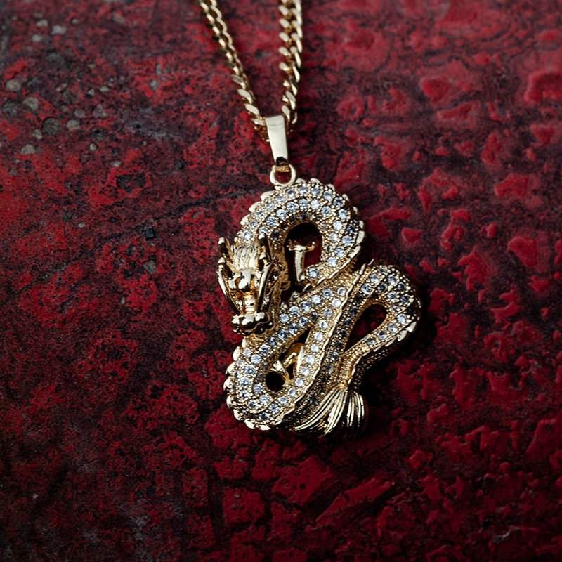 Luxury Gold Colors Zircon Dragon Pendant Necklaces for Men Women Iced Out Tennis Gold Chain Hip Hop Jewelry Gifts(China)