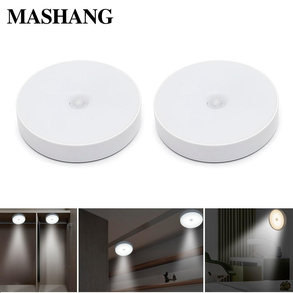 Night Light LED Wall Lamp USB Rechargeable Infrared Body Sensor Mini Wireless PIR Indoor Corridor Light Bedroom Staircase Lights