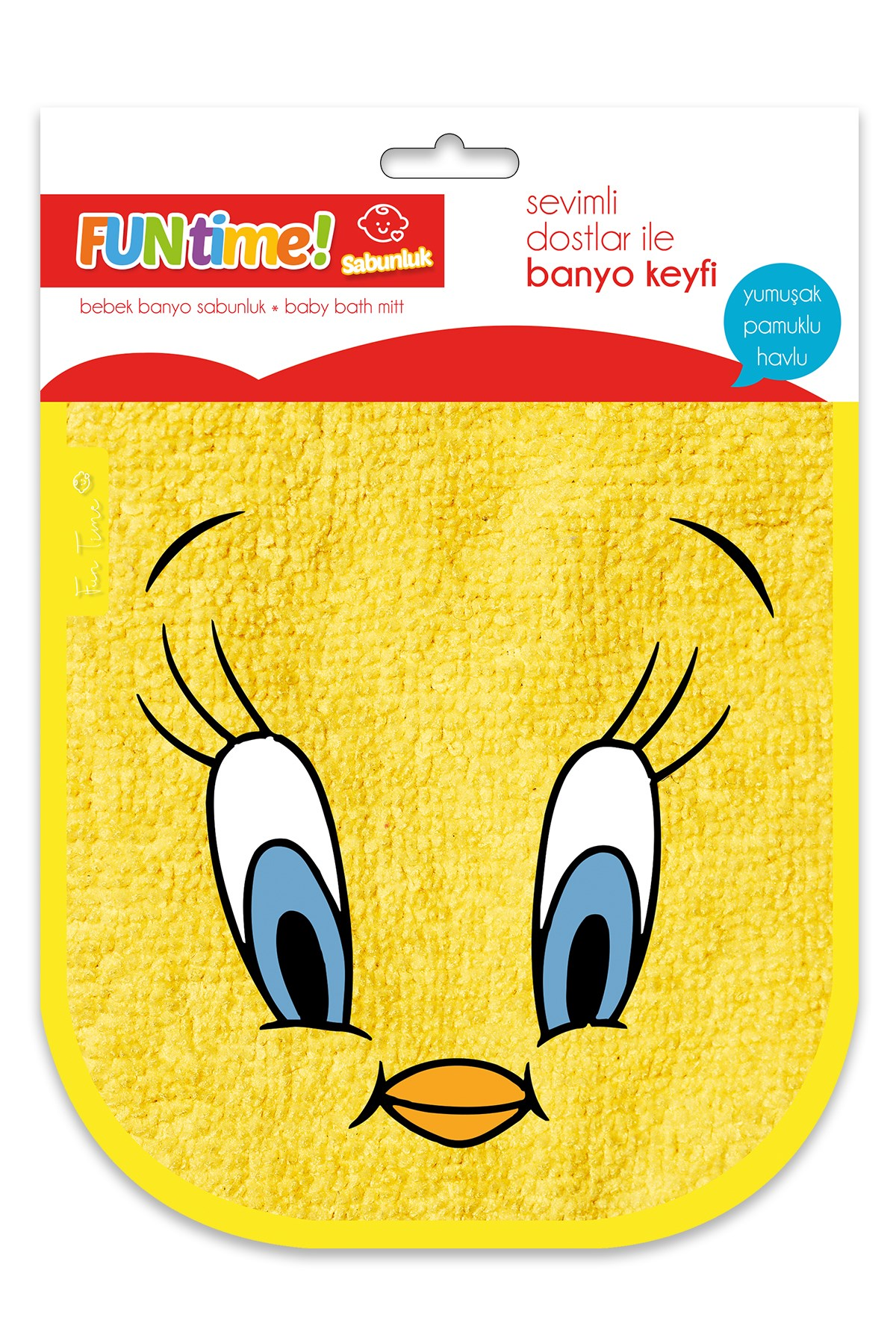 Fun Time % 100 Cotton Cute Chick Soap Glove For Babies And Kids