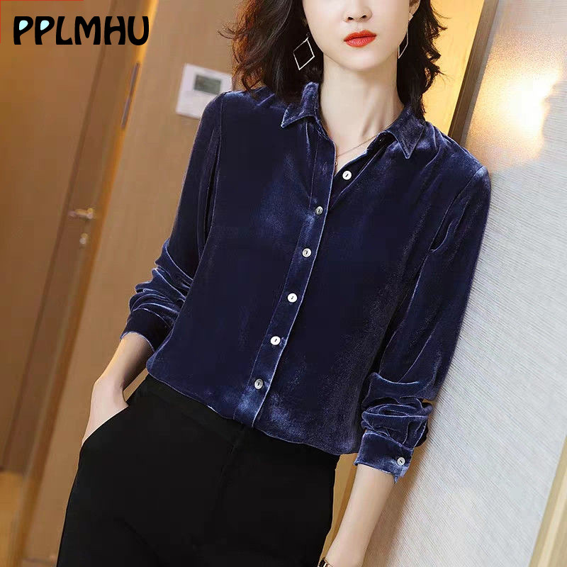 Office Lady Blue Velvet Blouse Button Down Shirt For Women Black Casual  Fashion Spring New Long Sleeve Plus Size Tops Shirts|Blouses & Shirts| -  AliExpress