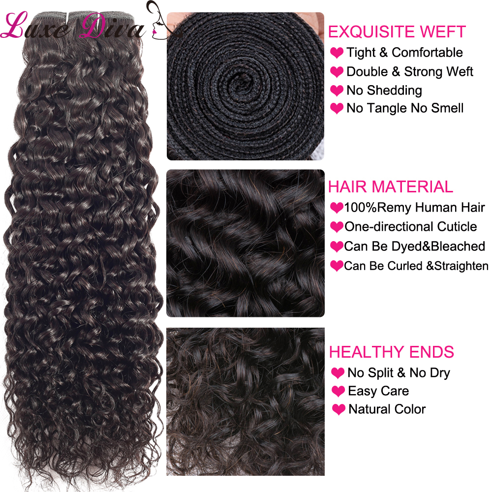 luxediva remy human hair water WAVE bundles with closure hair weaves human hair ex