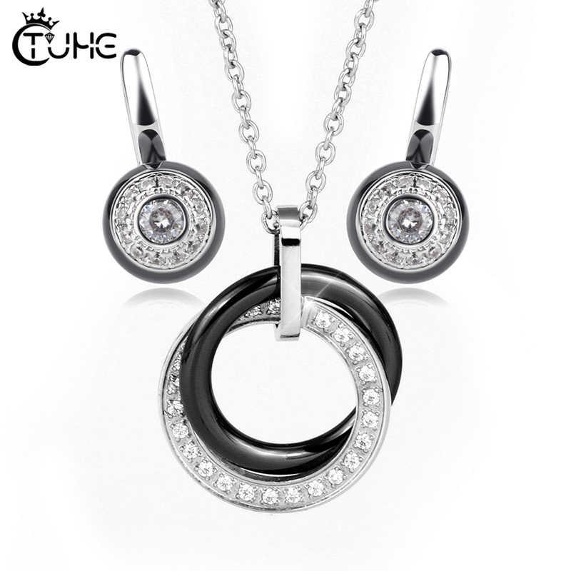 Женский костюм набор украшений для женщин черный белый здоровое керамическое ожерелье серьги набор Свадебные украшения Рождественский подарок