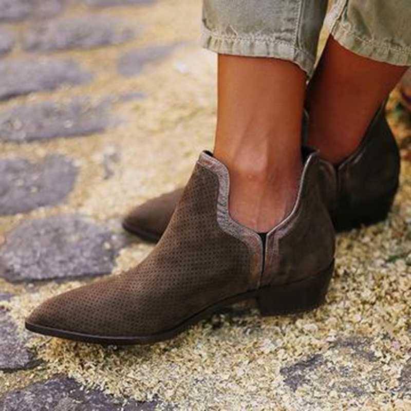 HEFLASHOR Lente Herfst Nieuwe PU Laarzen Vrouwelijke Slip Op Hakken Casual Botas Vrouwen PVC Enkel Regen Laarzen Mujer Booties Feminina size