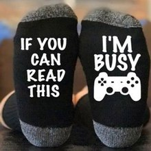 Funny If You Can Read This I'm Busy Pattern Novelty Art Christmas Gift Humour Words Socks Punk Game Club Sock(China)