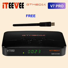 Nowy GTMEDIA V7 PRO TV, pudełko DVB S/S2/S2X + T/T2 CA karty 1080P 1G bit pamięci RAM wsparcia VCM/ACM/strumień/T2MI Albertis/Tivusat i BBC