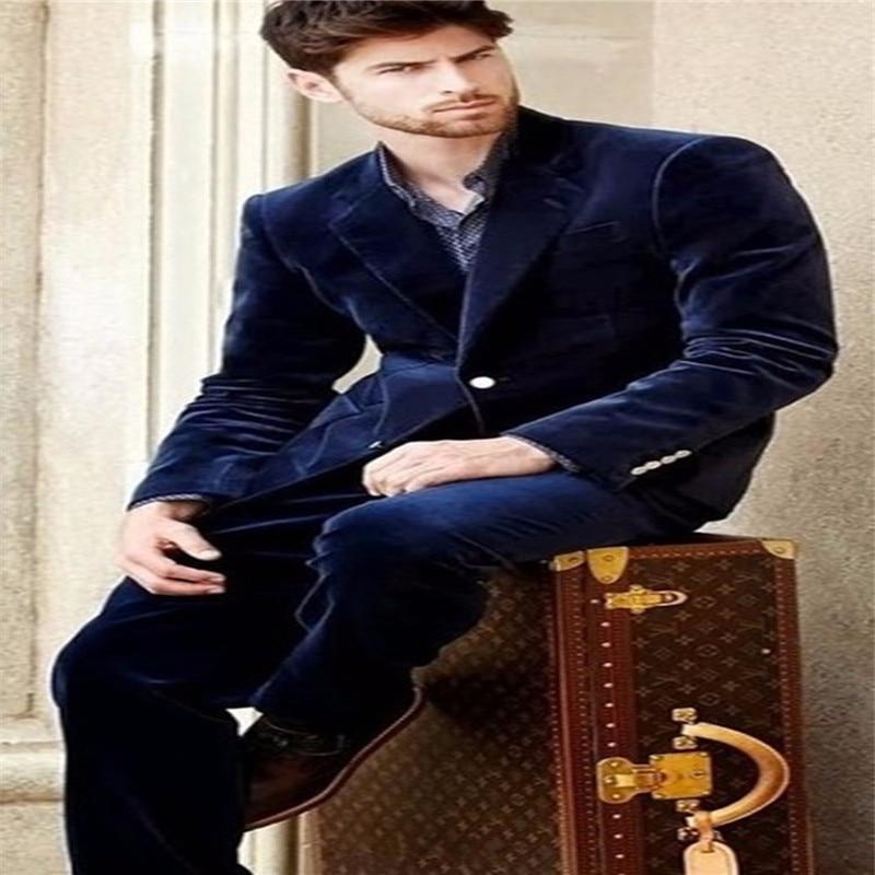 Notch Lapel Navy Blue Velvet Men Suit Slim Fit Tuxedos 2020 New Fashion Blazer With Pants Dinner Prom Men Suits (Jacket+Pants)