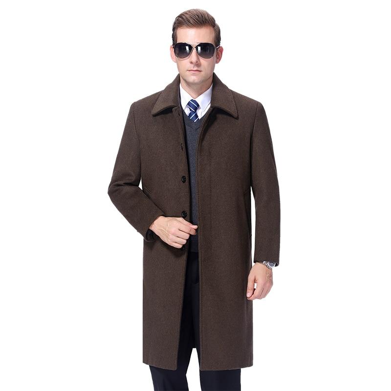 2020 Winter Wool Coat Men Winter Long Coat Wool Overcoat Cashmere Coat Thick Warm Peacoat Men Wool Blend Long Jacket Fur Linner