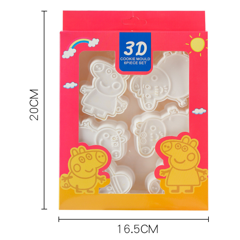 Peppa Pig 6 Pieces Christmas Figure Model Set Of Cookie Cutters 3d Cartoon Cartoon Skull Mold Plastic Pressing Fun Baking Cute