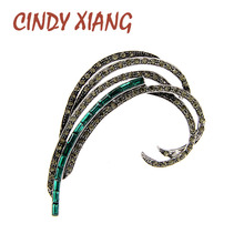 CINDY XIANG rhinestone large feather brooches for women elegant winter leaf pin brooch 3 colors available