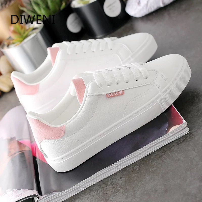 Classic Casual Shoes Woman Summer Lace-up Trainers Fashion Round Toe Shoes Women Vulcanize Shoes White Sneakers Women Shoes