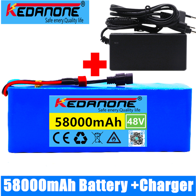 48v lithium ion battery 48v 58Ah 1000w 13S3P Lithium ion Battery Pack For 54.6v E-bike Electric bicycle Scooter with BMS+charger 1