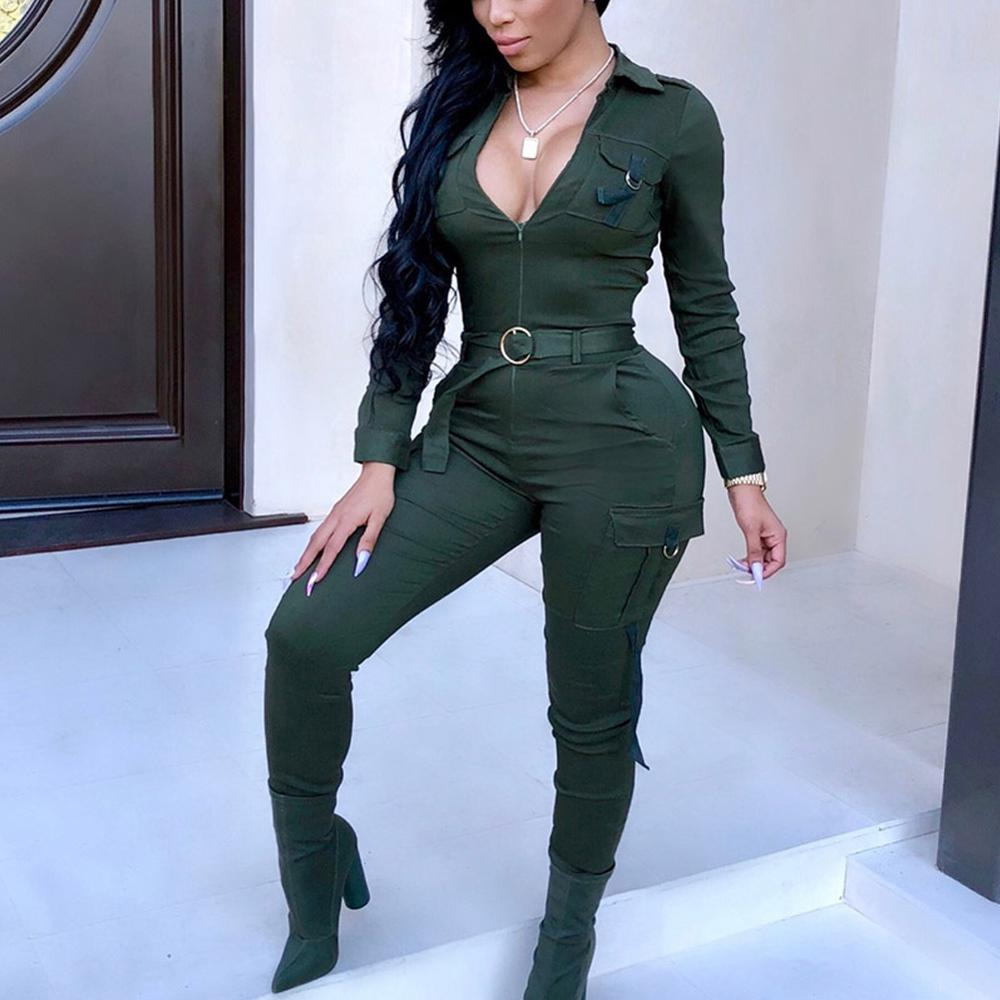 Sexy Women Bodycon Jumpsuit Sexy V-neck Long Sleeve Army Green Solid Casual Bodysuit Ladies Vintage Long Jumpsuit Romper