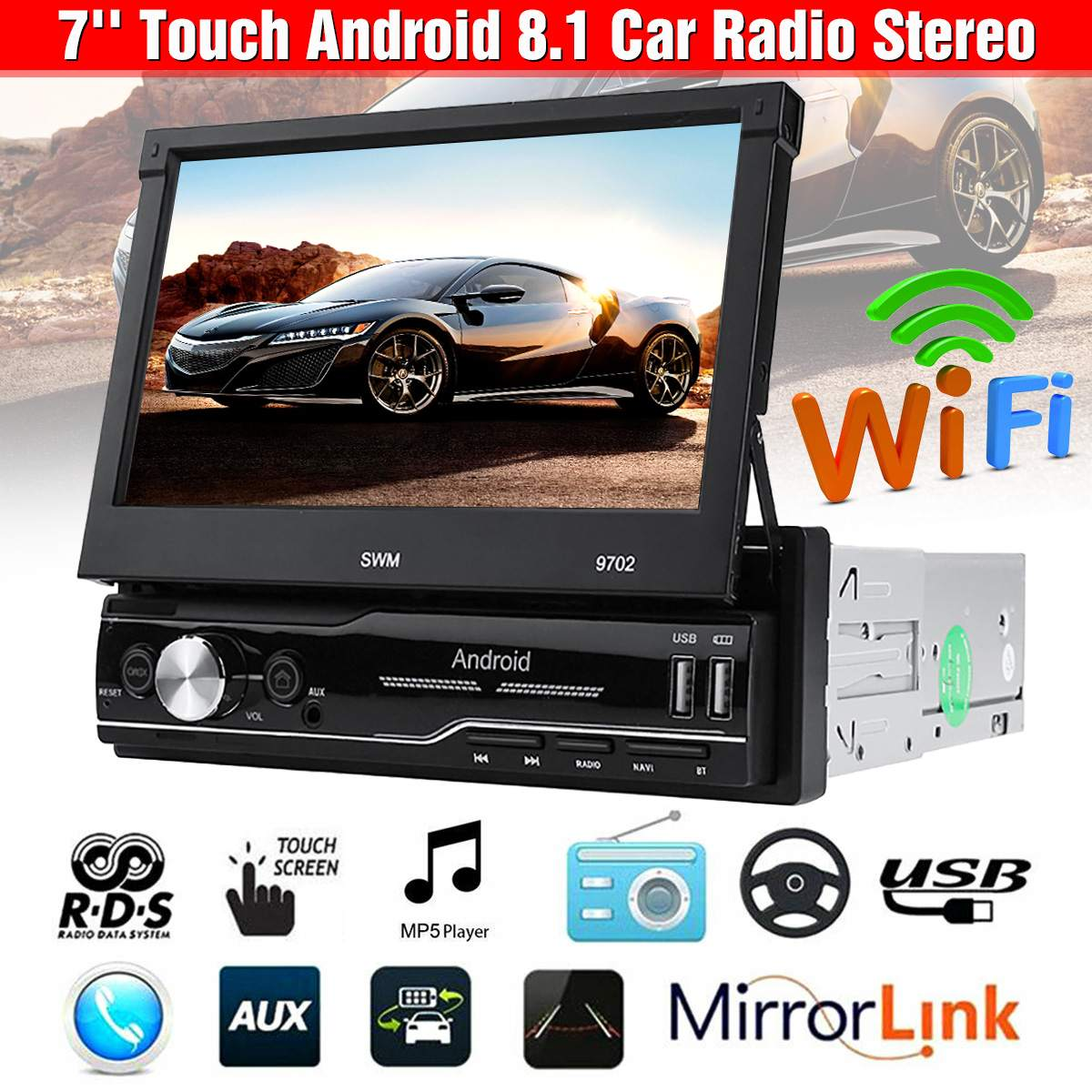 7 1 Din Android 8.1 Car Radio Stereo MP5 Player Multimedia Player GPS bluetooth Wifi FM Touch Screen 4 Core 1+16G Retractable image