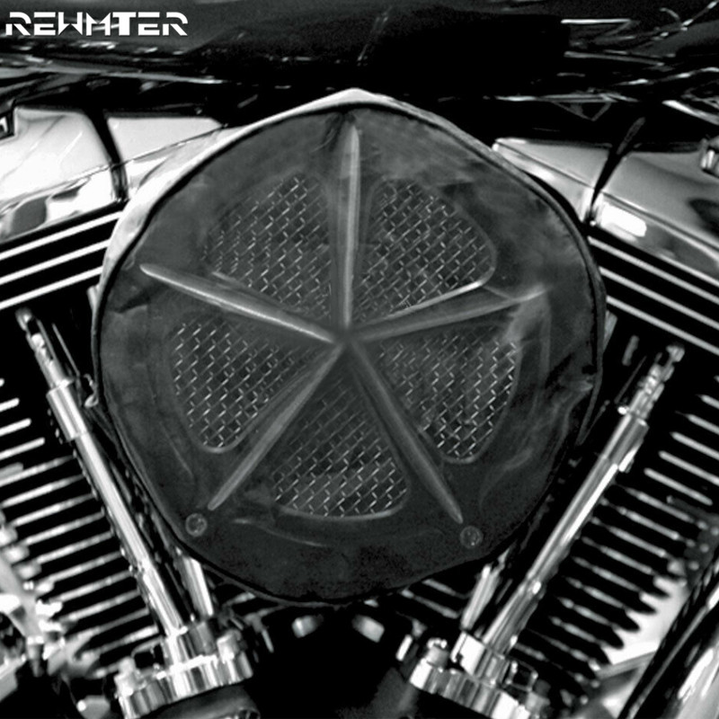 Black Waterproof Rain Sock For Harley Touring Sportster 883 1200 Softail Dyna Road King Electra Glide For Air Filter Cleaner Kit(China)