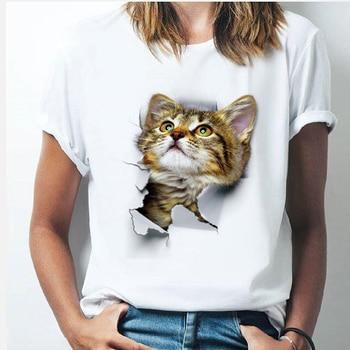 Womens T-shirt Cat Harajuku Funny Cute Head Hole Printed Short-sleeved Casual Cartoon Korean Version Top