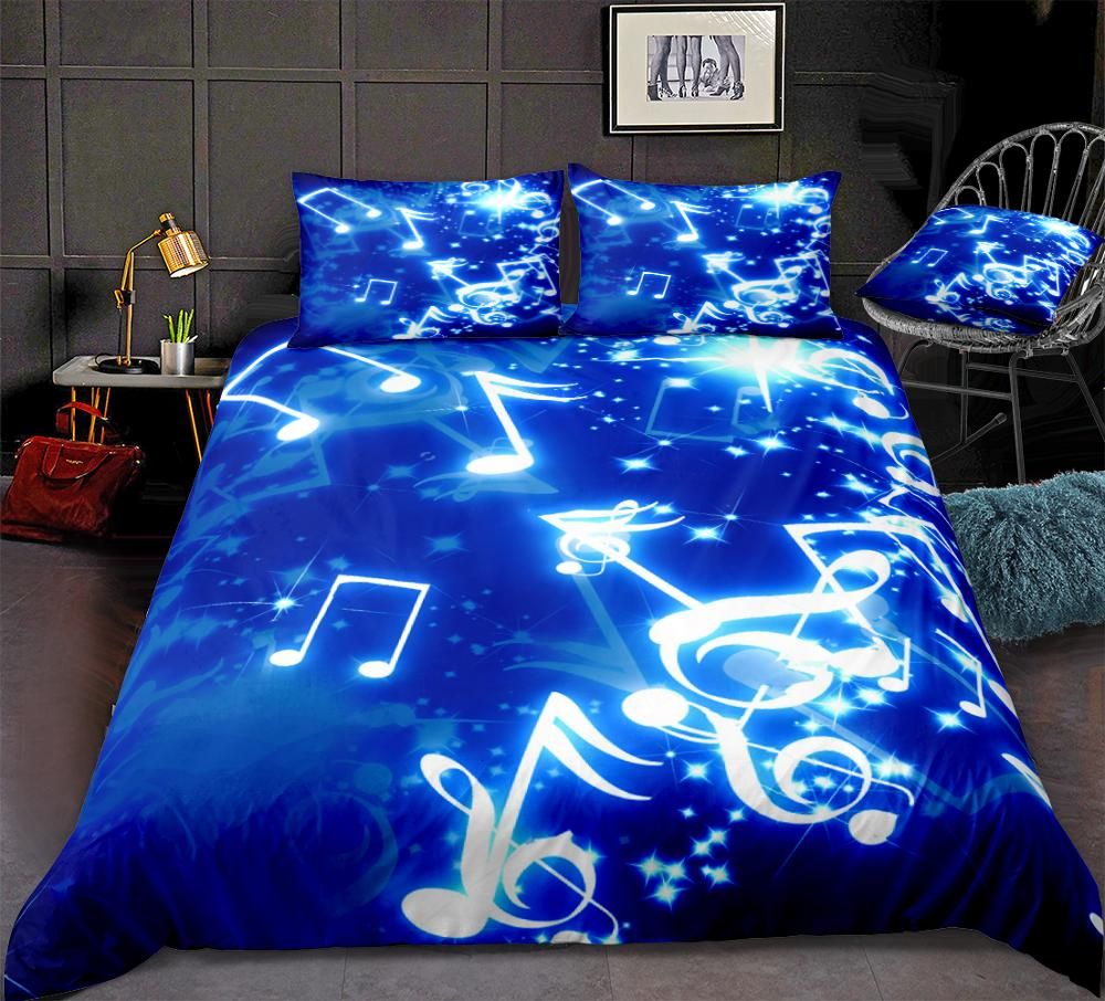 Music Duvet Cover Set Musical Notes Bedding Blue Music Themed Quilt Cover Queen Bed Set 3pcs Home Textiles Blue Teens Dropship