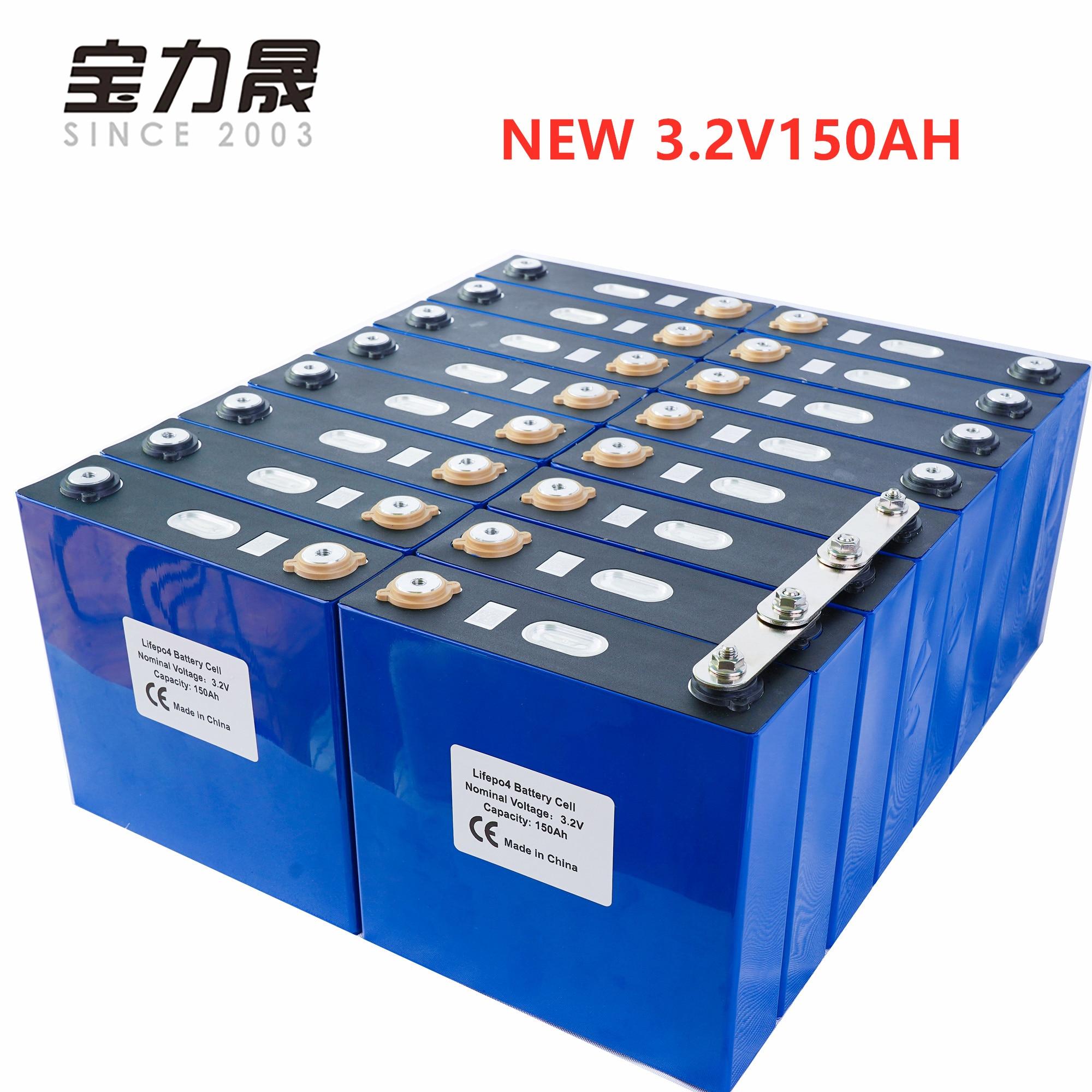 Novo 16 pces 3.2 v 135ah 150ah lítio ferro fosfato célula lifepo4 bateria solar 24v300ah 48v150ah células não 120ah ue eua livre de impostos