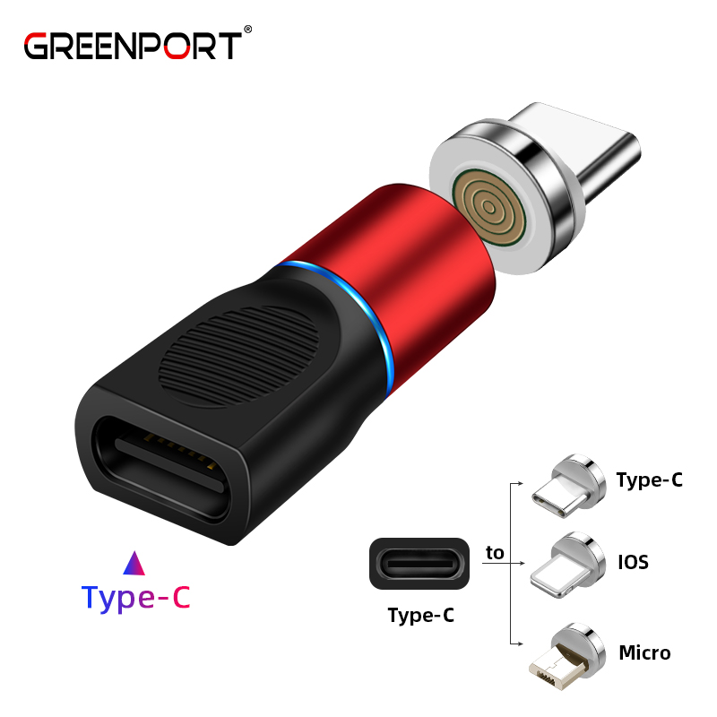 GREENPORT Type C Adapter Magnetic Charger USB Connector For Samsung IPhone Xiaomi Huawei Phone Charger Cable
