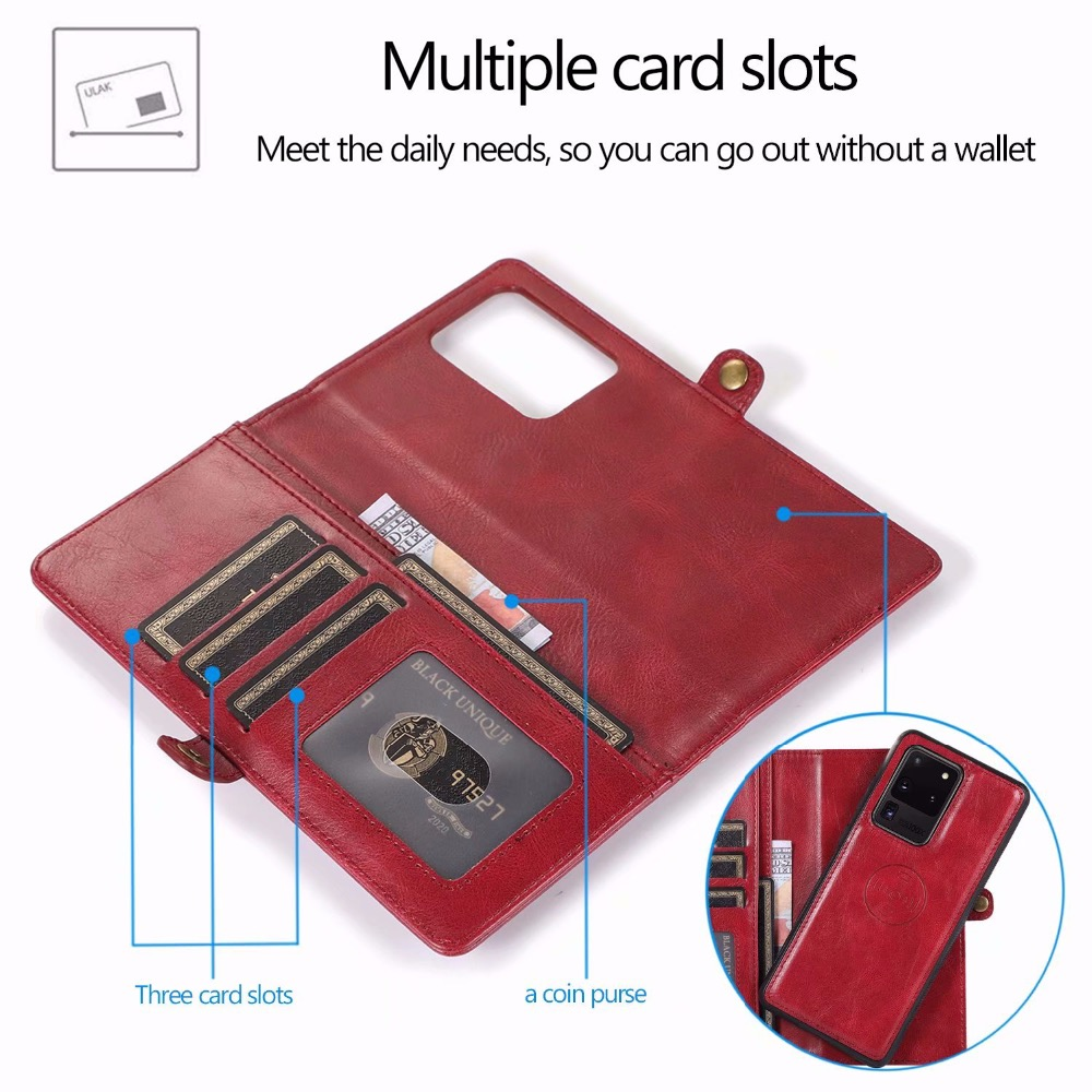Removal Magnetic Stand Flip Wallet Leather Case for Samsung Note 20 Ultra