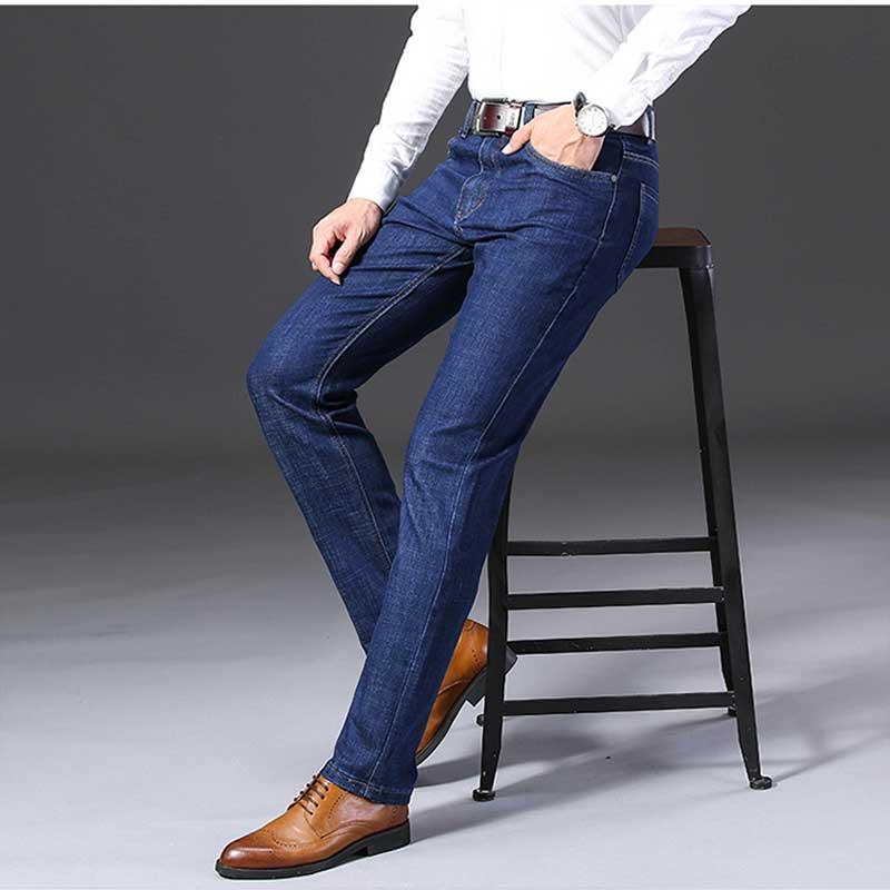 2019 Winter New Stretch Jeans Korea Blue High Waist Men's Denim Trousers Business Straight Jeans Autumn Loose Office Male Jeans