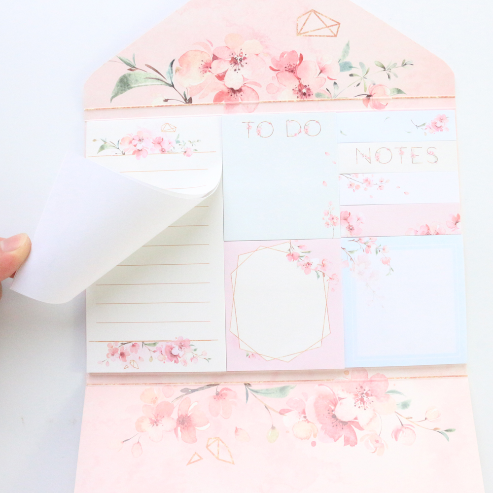 Domikee New Cute Kawaii Cherry Blossom Design Memo Pad Set Office School Student Candy Sticky Note Pad Stationery Supplies160pcs