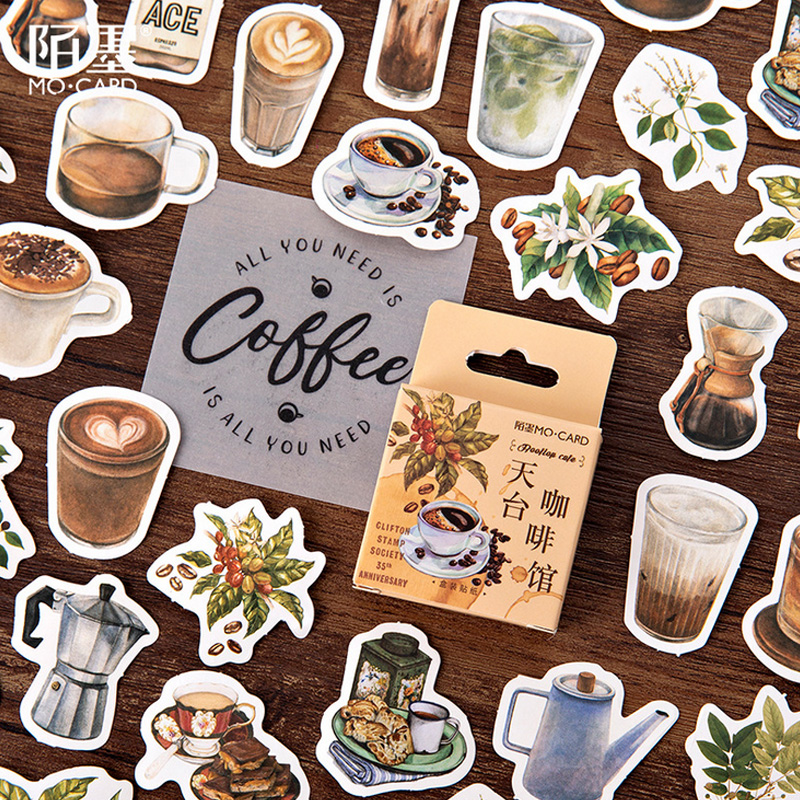 46 Pcs/Box Momo Vintage Rooftop Coffee Shop Mini Paper Sticker Package DIY Diary Decoration Sticker Album Scrapbooking