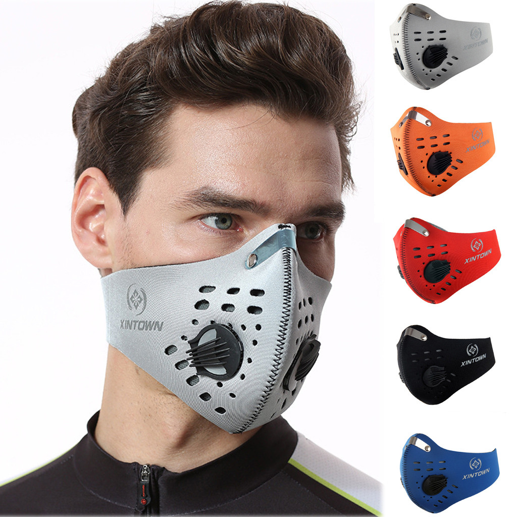 XINTOWN PM2.5 Black Mouth Mask Dustproof Mask Activated Carbon Filter Windproof Mouth-muffle Bacteria Proof Flu Face Masks Care