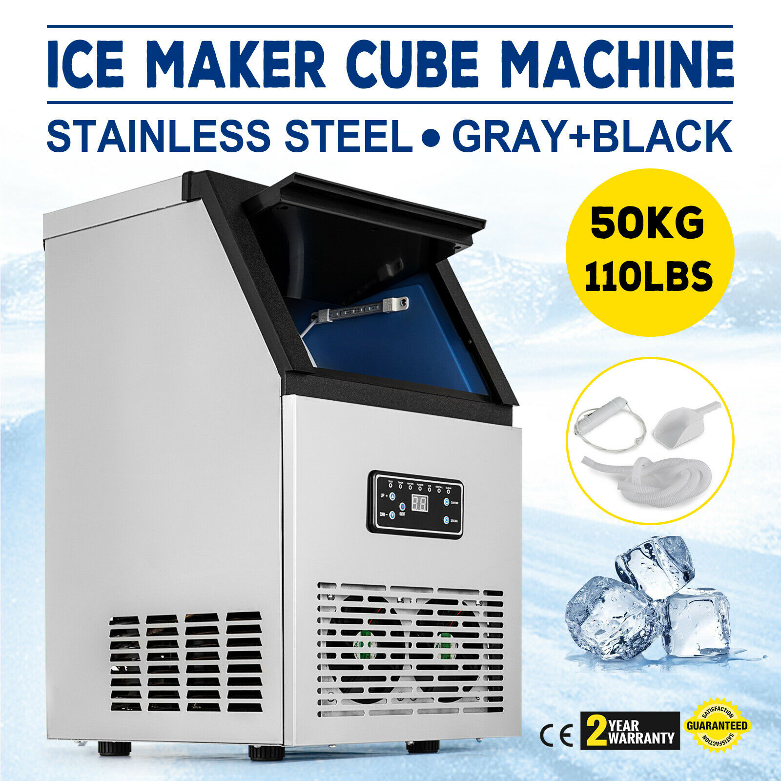 Professional Ice Machine In Stainless Steel 220V 50Hz Ice Machine Professional Ice Machine (40-50 Kg)