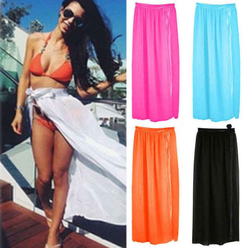 Wanita Berenang Memakai Bikini Cover Up Tipis Pantai Mini Bungkus Rok Sarung Daoble Celana Pendek Musim Panas Beachwear