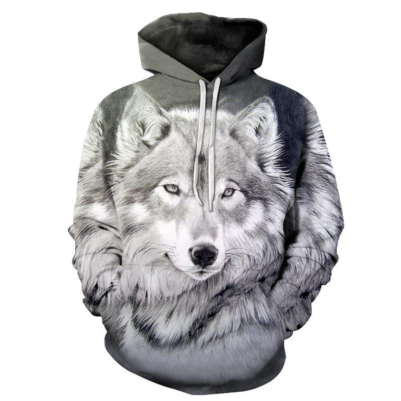 New Wolf Hoodies Men's Hoodie  Autumn Winter Hip Hop Hoody Tops Casual Brand 3D Wolf Head Hoodie Sweatshirt Dropship