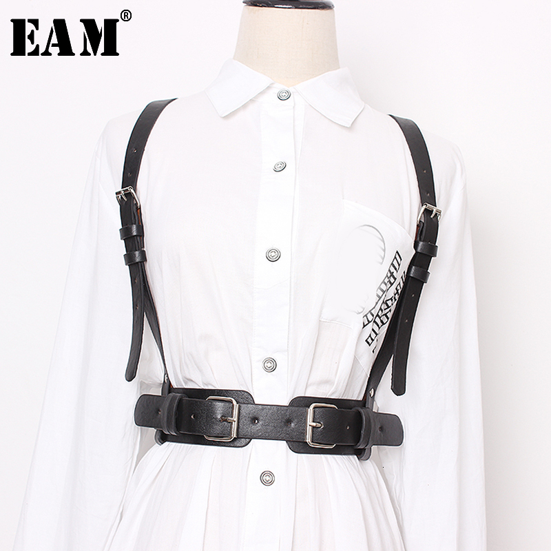 [EAM] 2020 New Spring Summer Pu Leather Black Buckle Cross Bandage Personality Strap Belt Women Fashion Tide All-match JT476