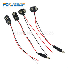 цена на 5PCS Experimental 9V Battery Snap Power Cable to DC 9V Clip Male Line Battery Adapter For Arduino Uno R3 DIY Connector T type