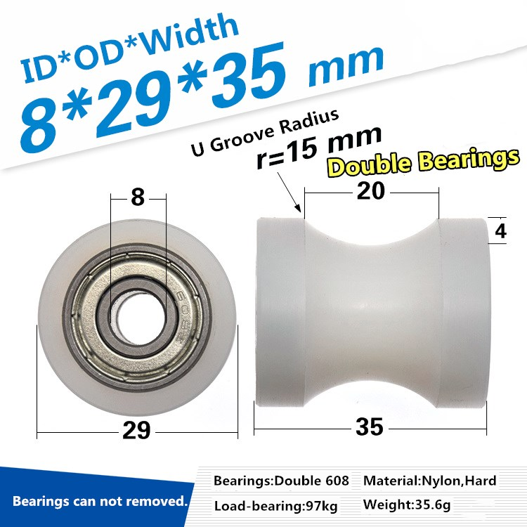 1pc 608z Bearing Coated Pulley Rolling Wheel CNC Nylon Machining U Slot Concave Guide Wheel Roller 6/8 X29 X 35mm