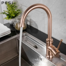Brushed Rose Gold New Kitchen Faucet Sink Mixer Tap Swivel Spout Faucet Swivel Copper Single Hole Kitchen Faucets taps.
