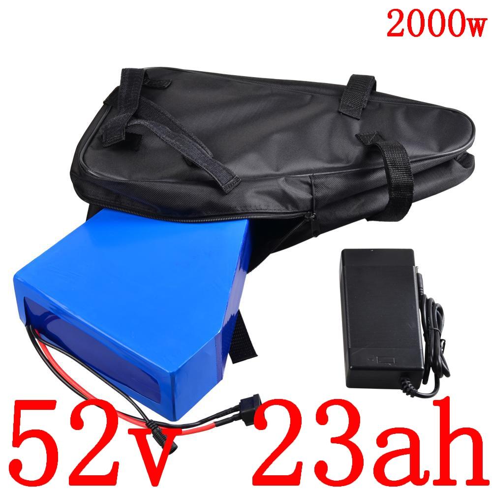 51.8V Triangle Lithium battery 52V 23AH electric bike battery 52V electric scooter battery for 48V 1000W 1500W 2000W ebike motor title=