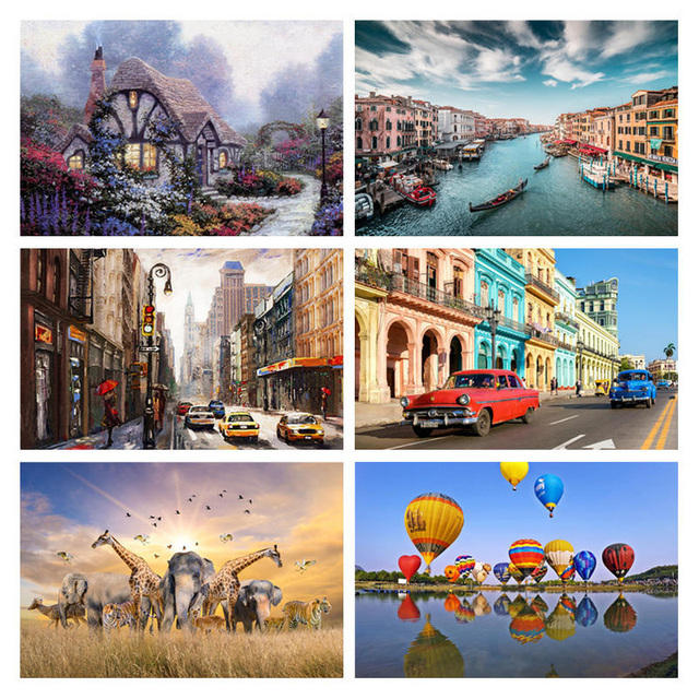 Jigsaw Puzzle Set 500 Pieces Various Landscape Patterns Jigsaw Puzzle Educational Toy for Kids Children 's Games Christmas Gift 2