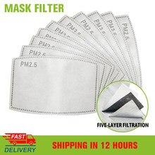 5-200 pces 5 filtros de carvão ativado de papel de filtro pm25 de proteção da camada para máscaras anti poeira adulto criança máscara facial filtro pm2.5