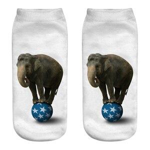 Женские носки с принтом слона, милые короткие носочки по щиколотку, женские хлопковые носки с объемным принтом животных