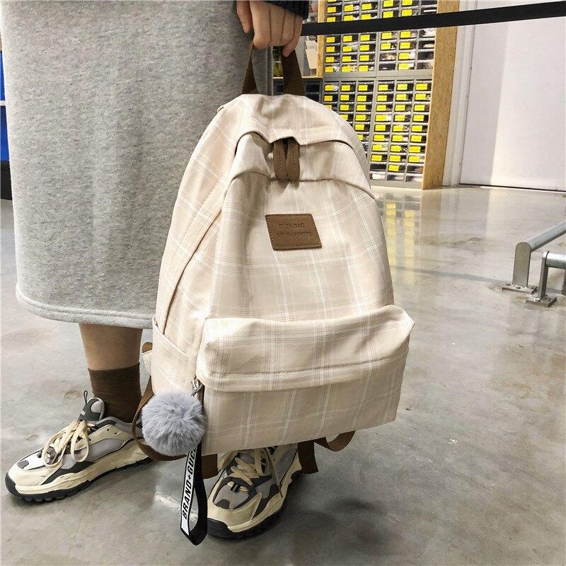 Женский хлопковый рюкзак DCIMOR, школьный ранец в клетку для девочек-подростков, дорожные сумки с меховыми помпонами-1