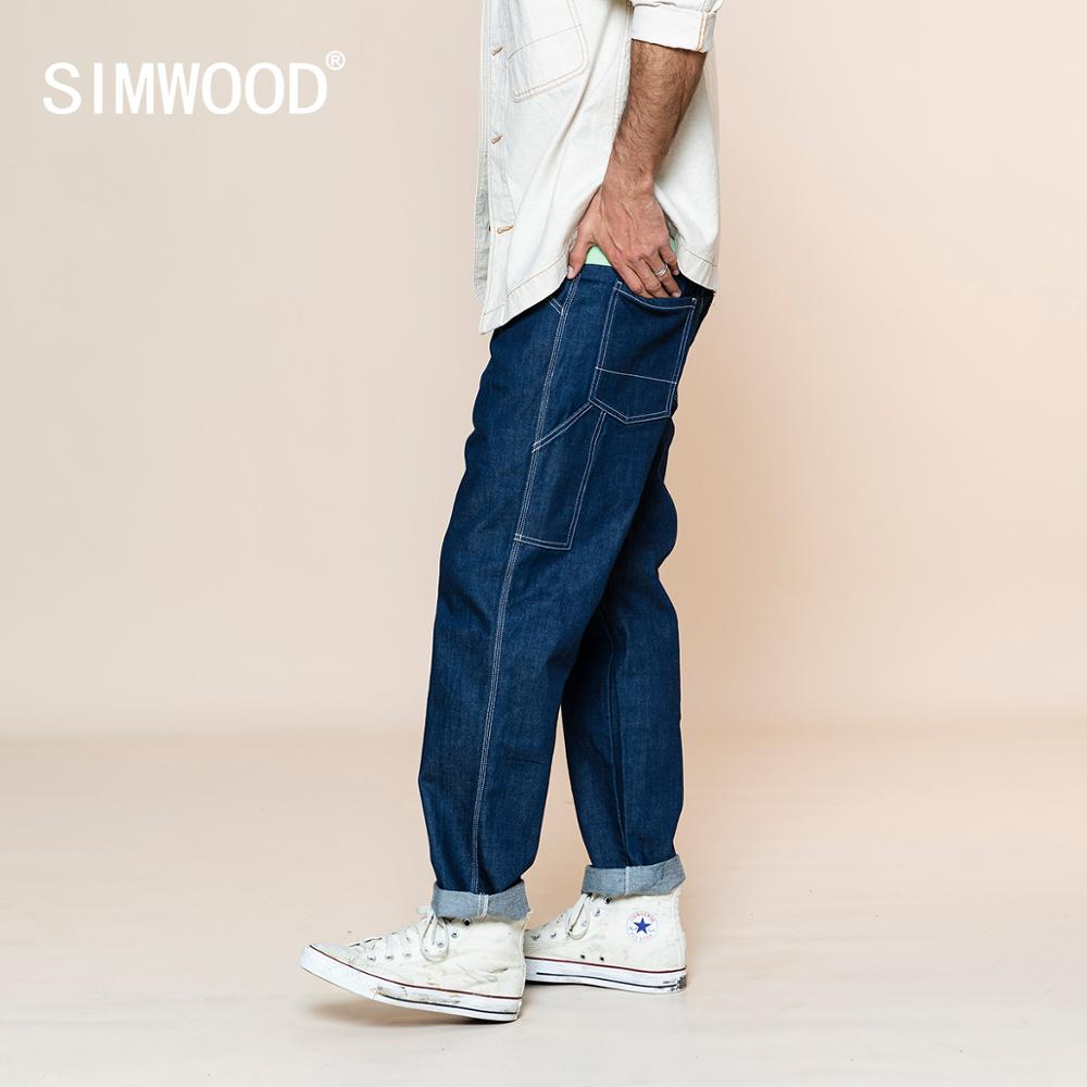 SIMWOOD 2020 Summer New Loose Straight Jeans Men Fashion Plus Size Oversize Trousers Fashion Streetwear Plus Size SJ130253