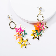 Summer Fashion Jewelry Exaggerated Alloy Star Resin Candy Color Five-pointed Chain Earrings Popular Womens Diy